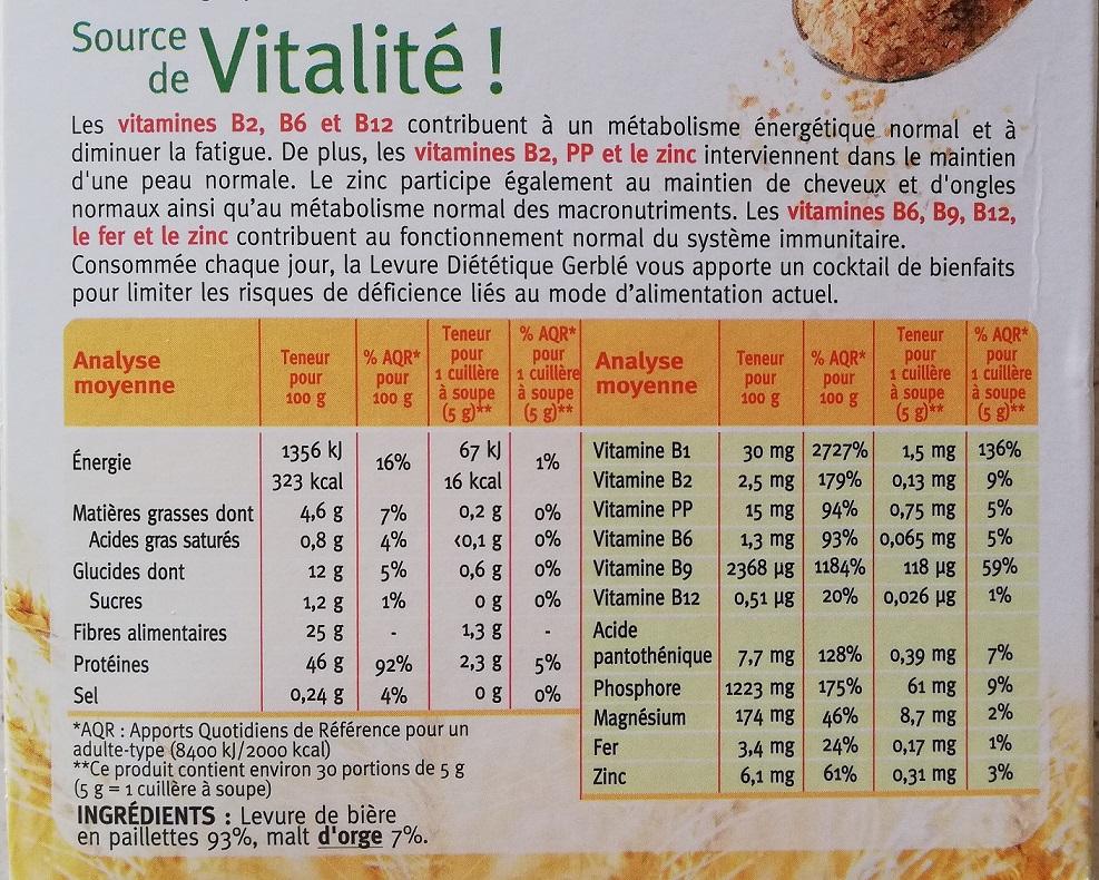 étiquette nutritionnelle de la levure diététique