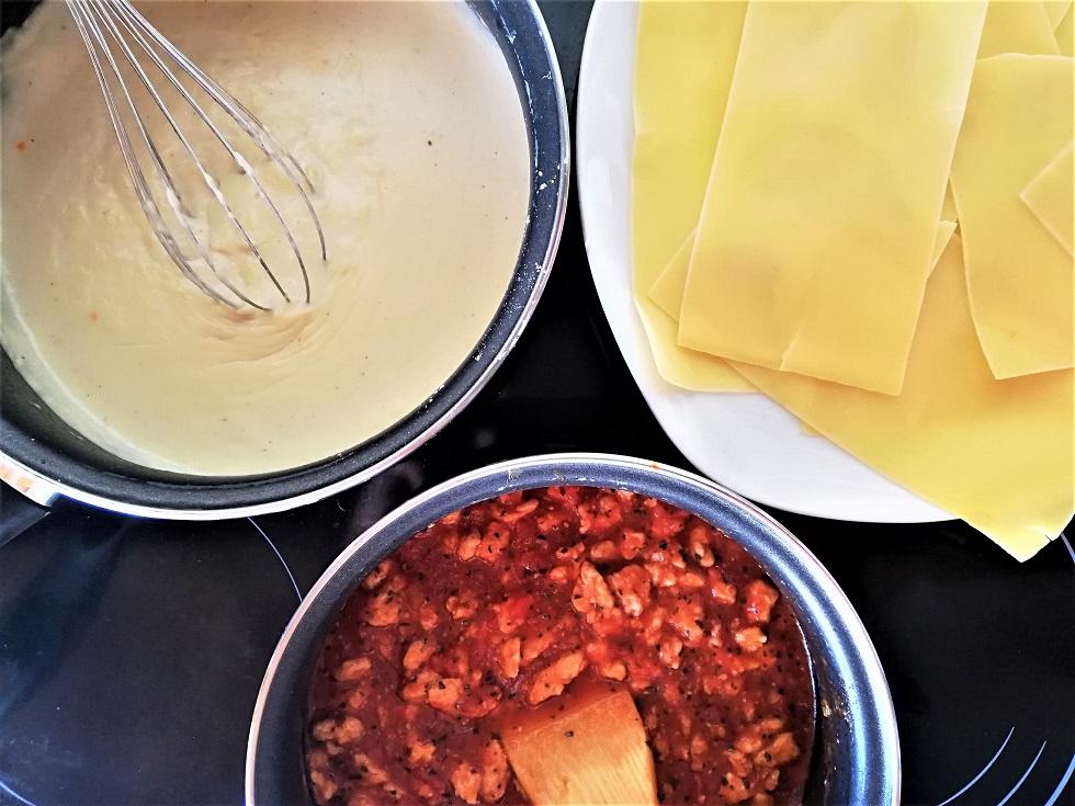 ingrédients pour les lasagnes veggie