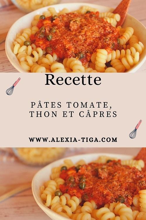 pâtes à la tomate, thon et câpres