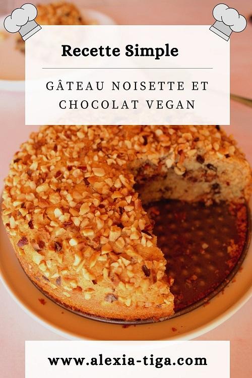 gâteau à la noisette et aux pépites de chocolat vegan